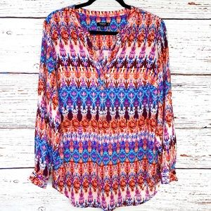 Premise exotic print split neck roll tab blouse
